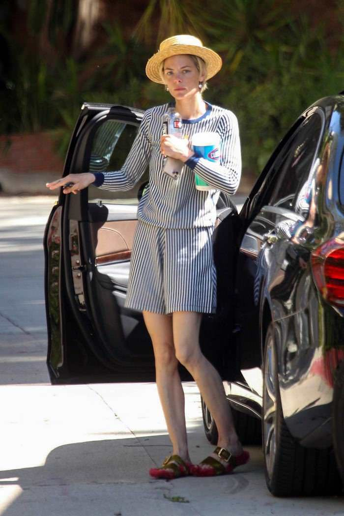 Jaime King in a Chic Striped Outfit Outside Friend's Place