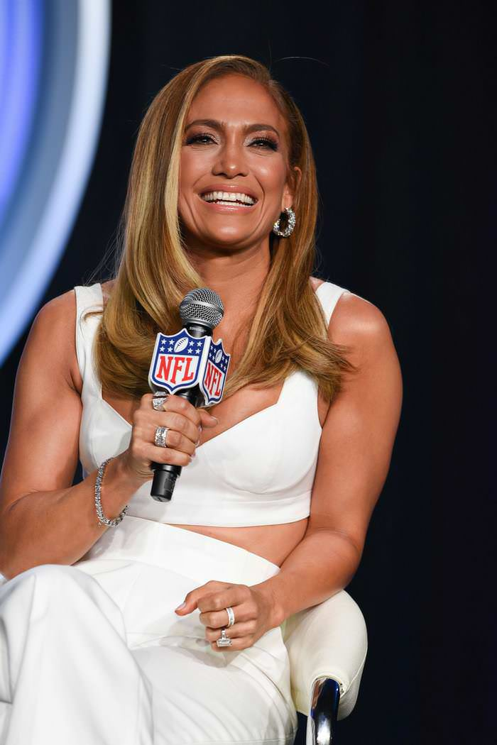 Jennifer Lopez at Meet With Media Ahead of Super Bowl Performance in Miami