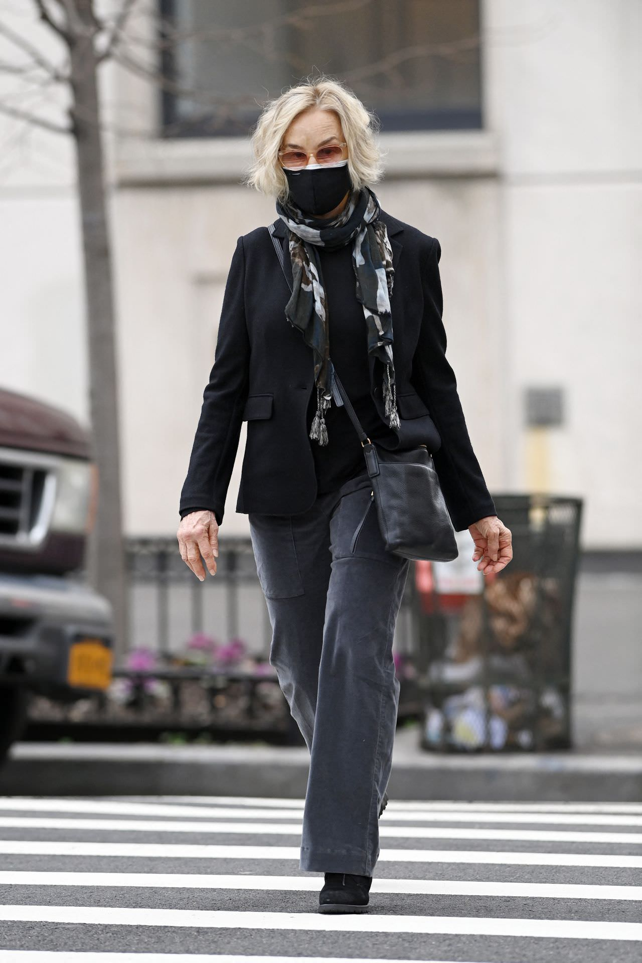 Jessica Lange in Black Outfit at Madison Avenue in NY