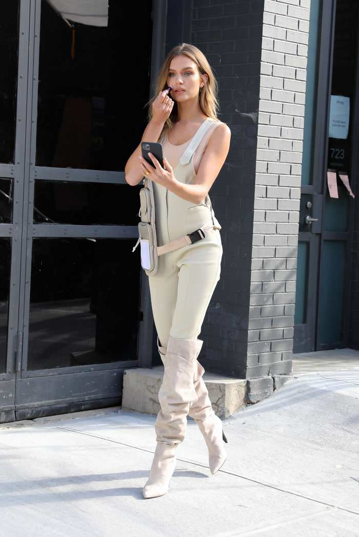 Josephine Skriver Posing in Jumpsuit does a Maybelline Photoshoot in New York City