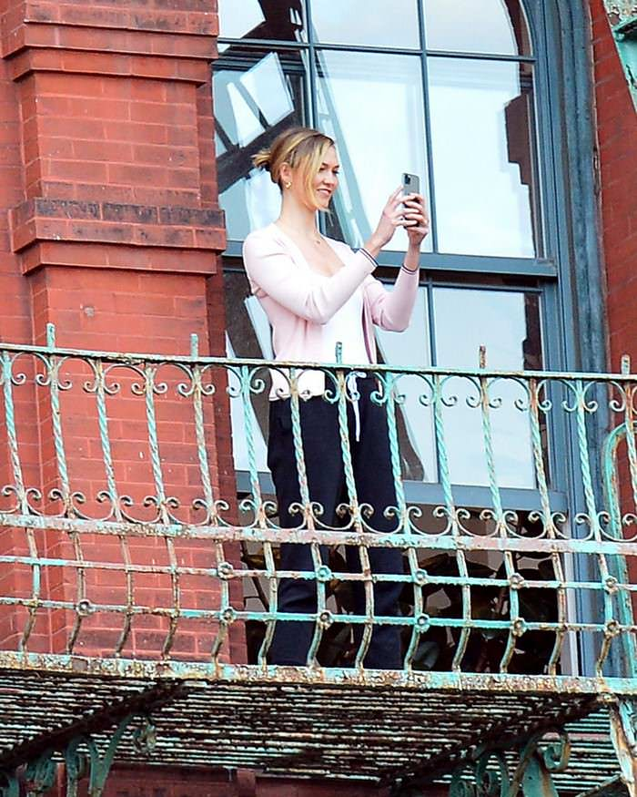 Karlie Kloss and Joshua Kushner on Their Balcony in NYC