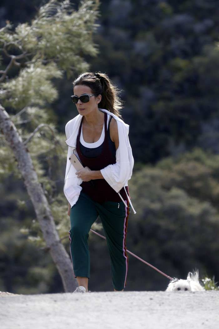 Kate Beckinsale Takes her Dog for a Walk with a Friend