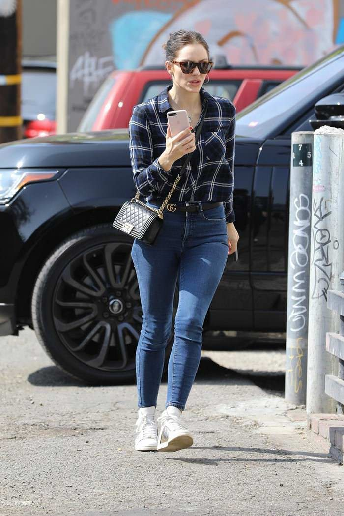 Katharine McPhee in Casual Flannel Shirt Out in West Hollywood