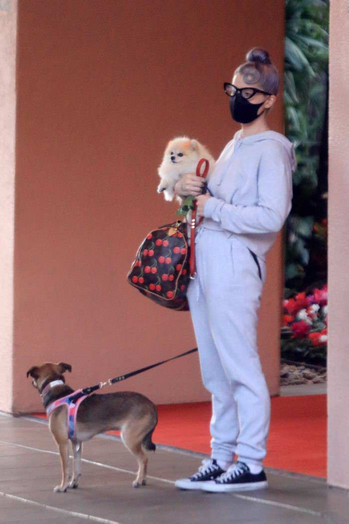 Kelly Osbourne in Sweatsuit Takes her Dogs to the Beverly Hills Hotel