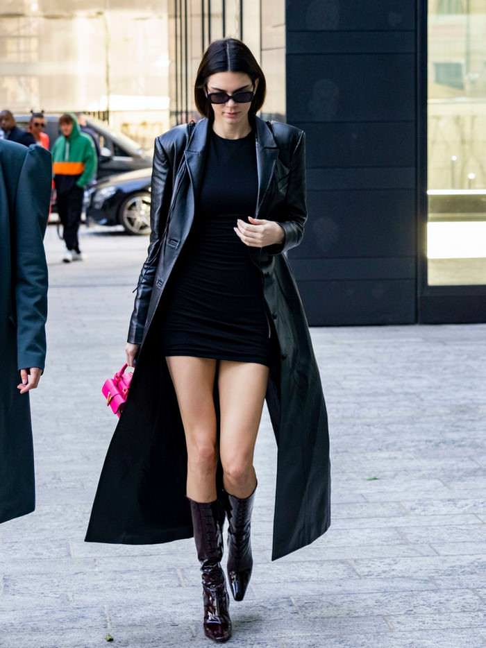 Kendall Jenner in Black Mini Dress Out in Milan