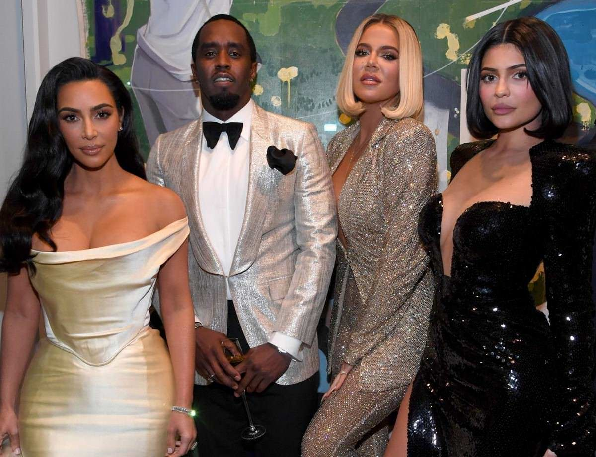 Kim Kardashian, Khloe Kardashian & Kylie Jenner at Sean Combs 50th Birthday Party