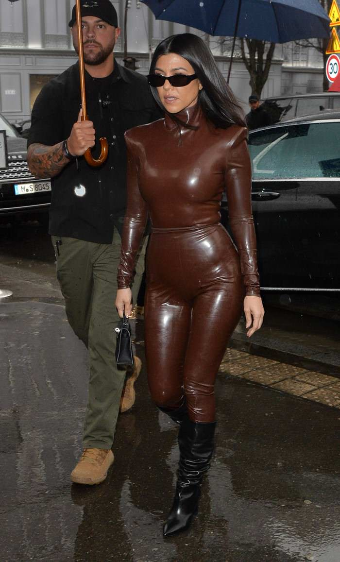 Kourtney Kardashian in Balmain Latex Outfit