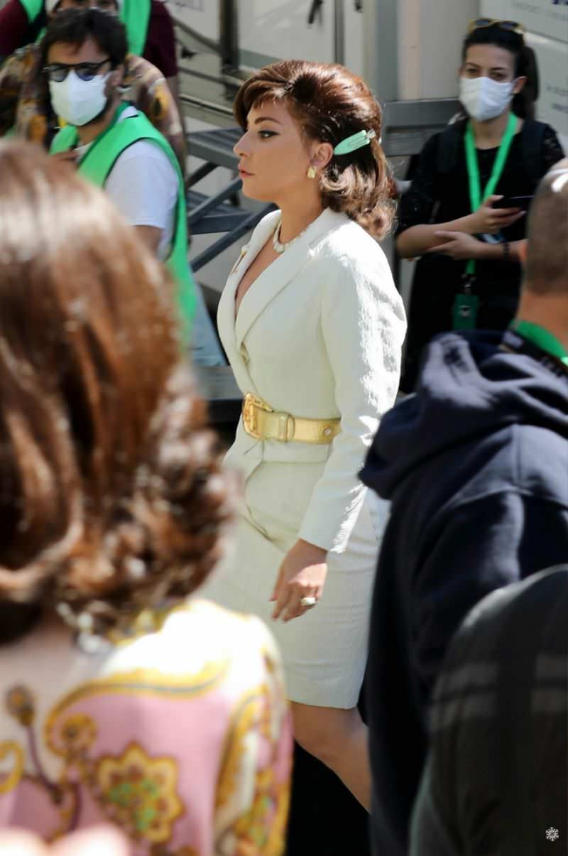 Lady Gaga Looks Chic in an Ivory Skirt on the Movie Set in Rome