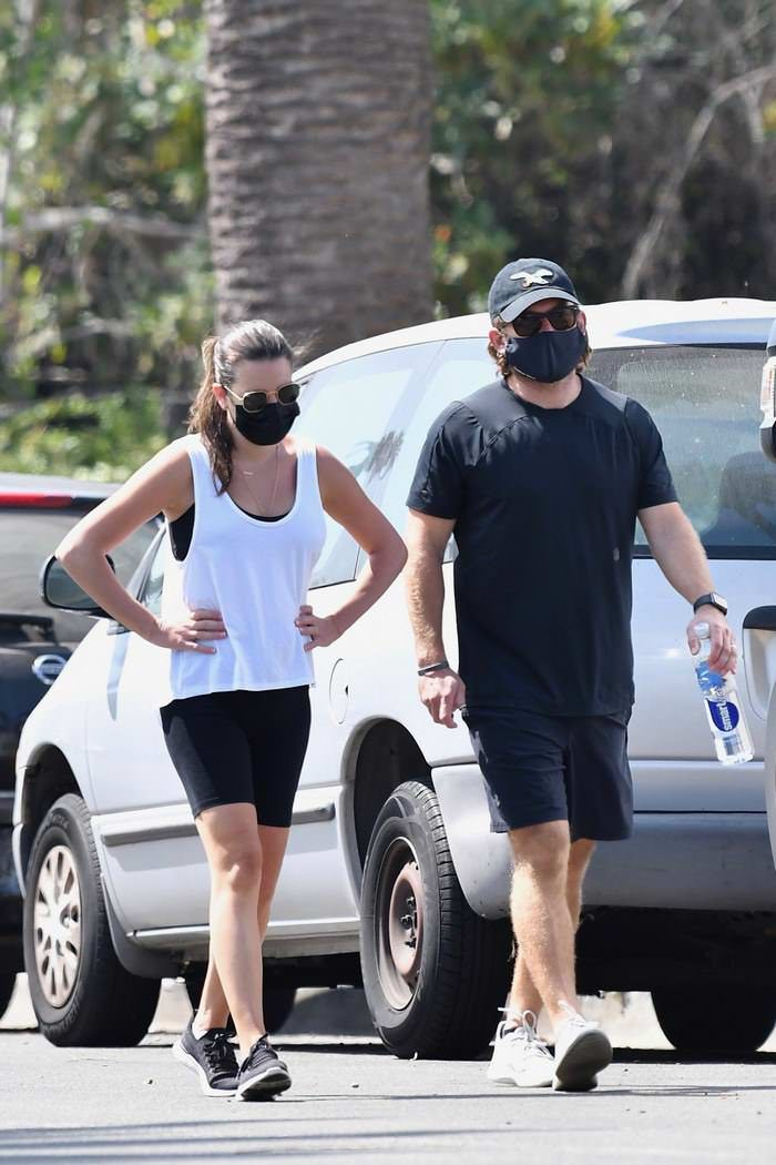 Lea Michele in a Tank Top and Shorts as she Takes a Walk with Zandy Reich