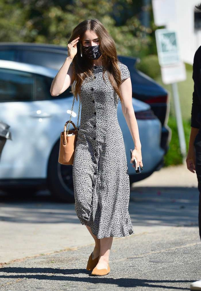 Lily Collins Stepped Out in a Floral Print Dress without Fiance Charlie McDowell