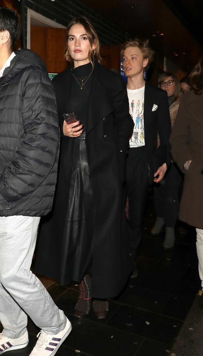 Lily James Arriving at the Re-Opening of Les Miserables in London