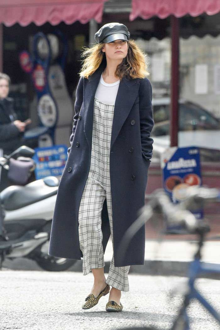 Lily James in a Grey Checked Overalls Running Errands in London