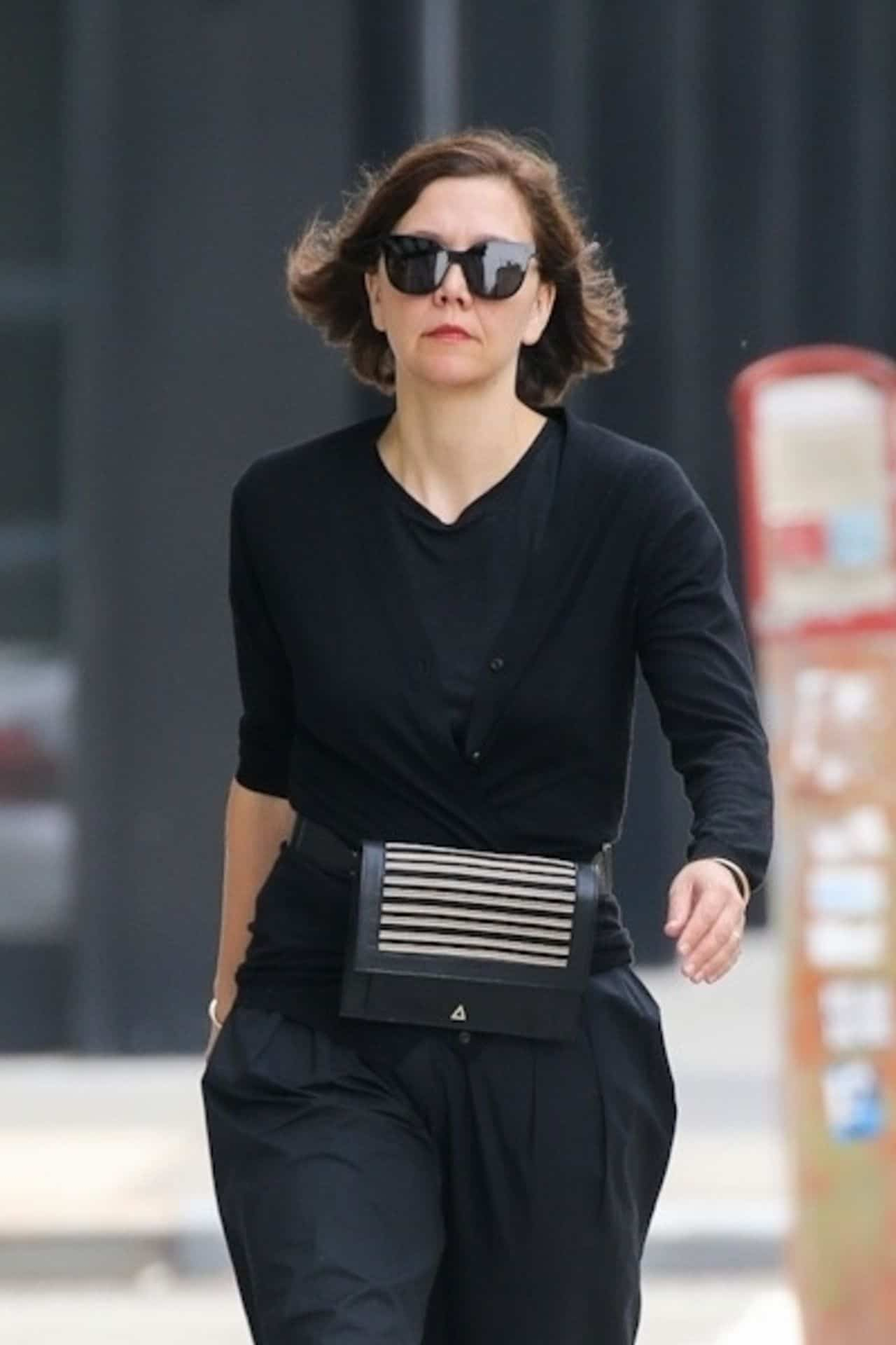 Maggie Gyllenhaal Out in All-black Outfit in New York