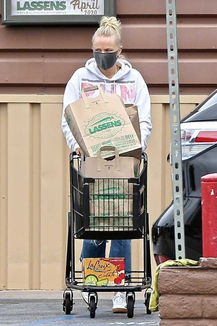 Malin Akerman Wearing a Protective Mask in Shopping at Lassen's
