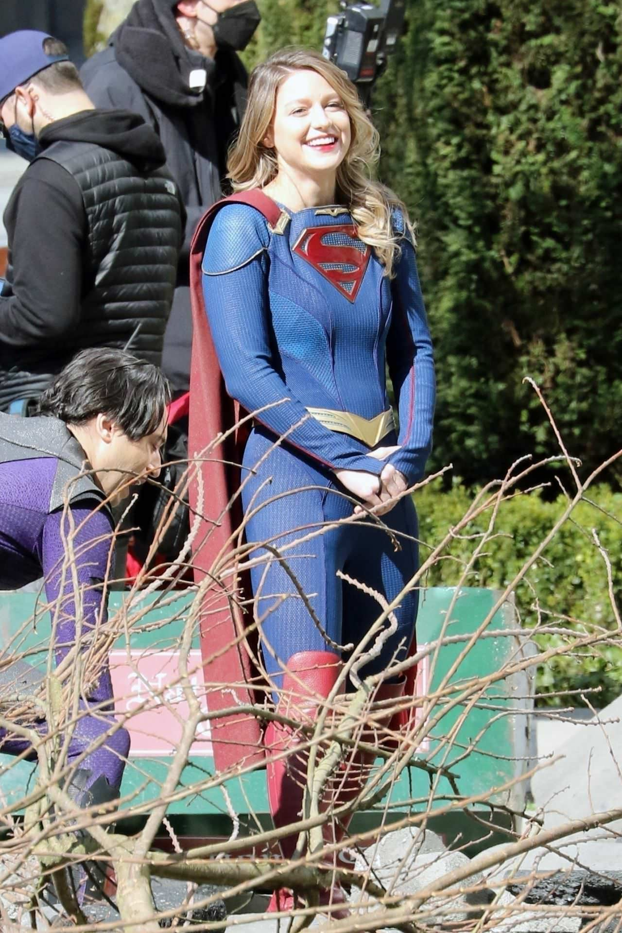 Melissa Benoist in Supergirl Costume on Set in Vancouver