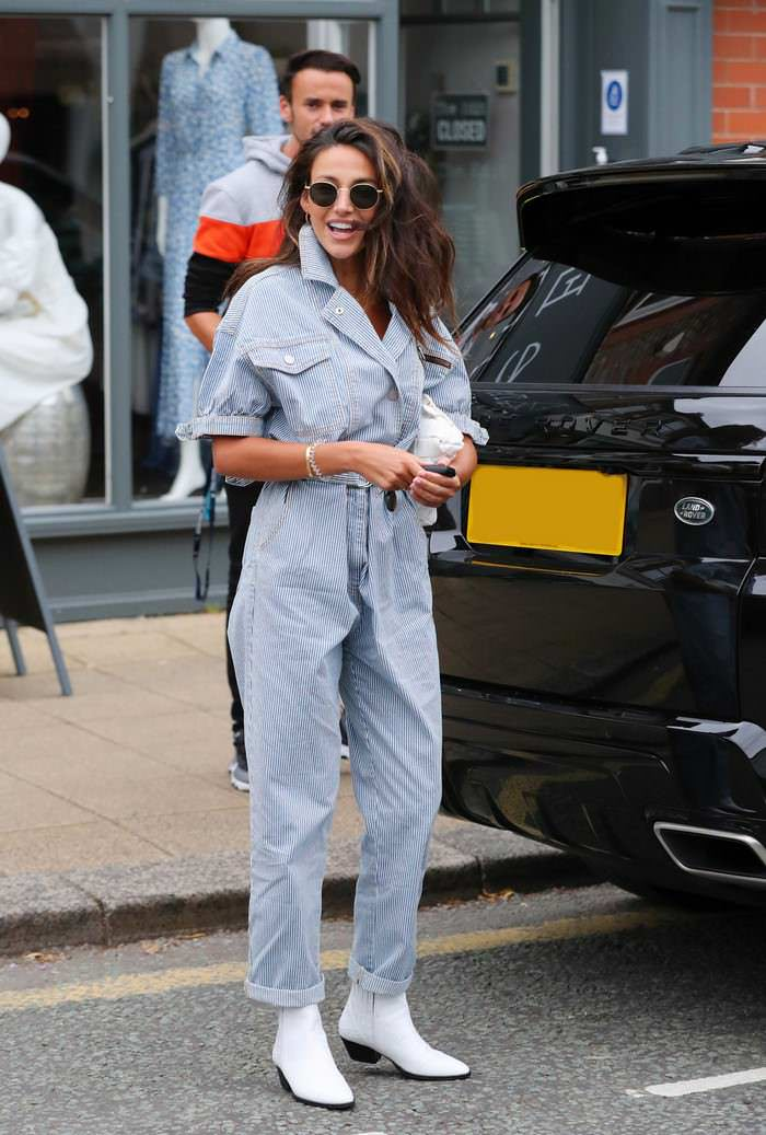 Michelle Keegan Looks Chic in a Pinstriped Jumpsuit