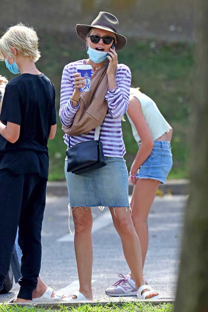 Naomi Watts in Chic Stripes as she Grabs Coffee in The Hamptons