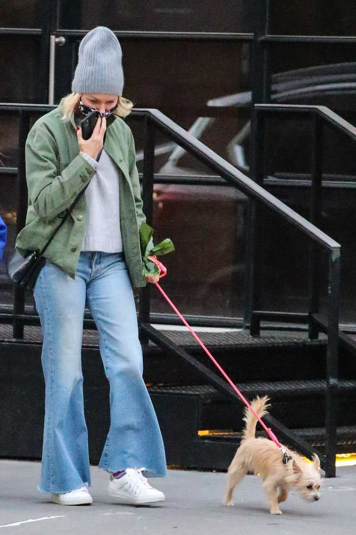 Naomi Watts in Cozy-chic Autumn Style as She Takes her Dog for a Walk in NYC
