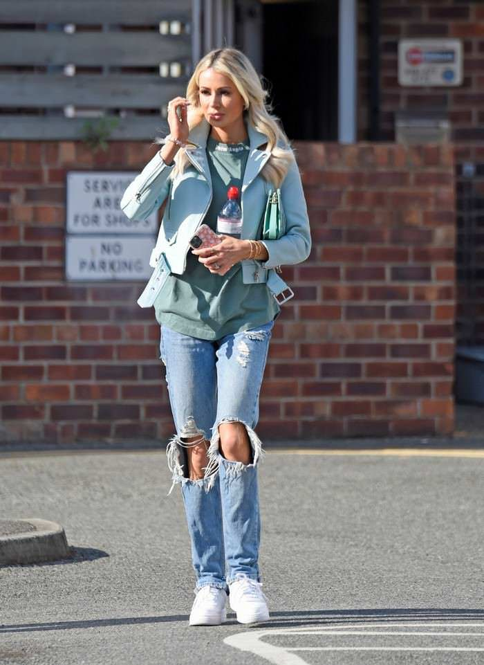 Olivia Attwood Looks Chic in a Biker Jacket and Ripped Jeans