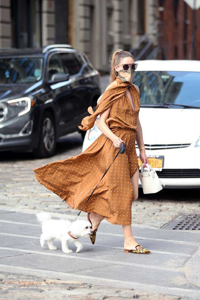 Olivia Palermo is a True Fashionista in Brown Polka Dress Out in NYC