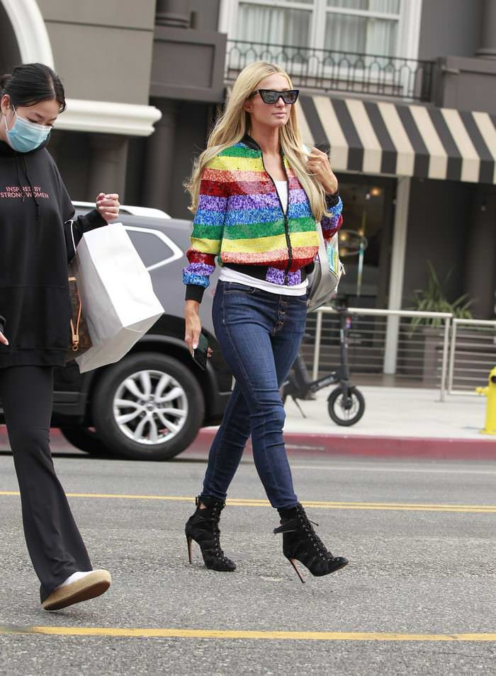 Paris Hilton Rocks a Rainbow Jacket while Shopping in Beverly Hills