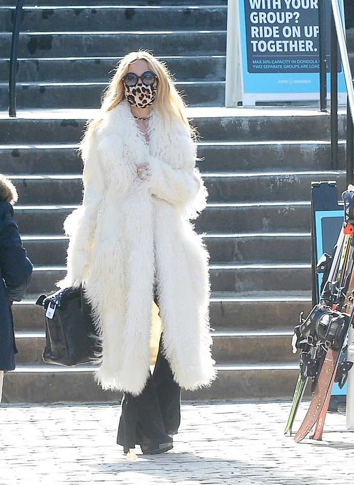 Rachel Zoe is Spotted in Chic Long White Fur Coat in Aspen