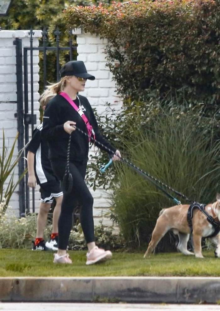 Reese Witherspoon Walking the Family Dogs with her Son