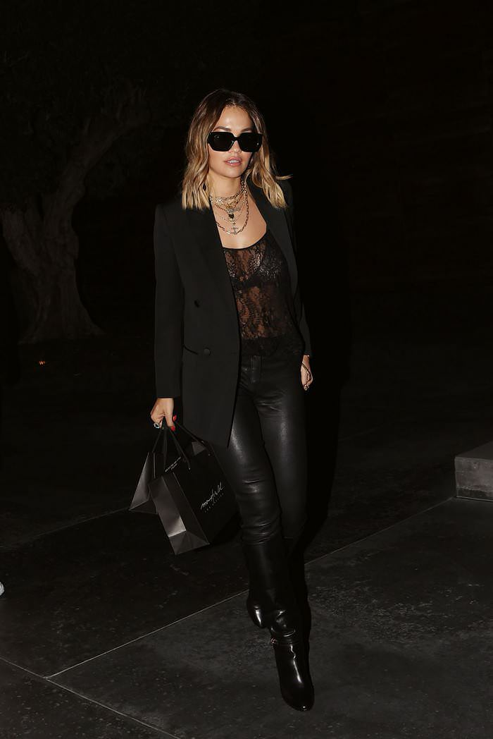 Rita Ora in Black Revealing Ensemble Out in West Hollywood
