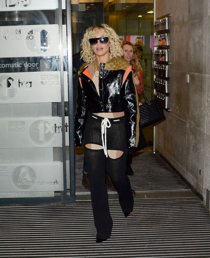 Rita Ora in Gothic Leather Outfit Arrives at the BBC Studios in London