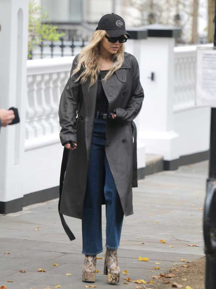 Rita Ora Looks Chic in a Leather Coat as She Goes to a Recording Studio