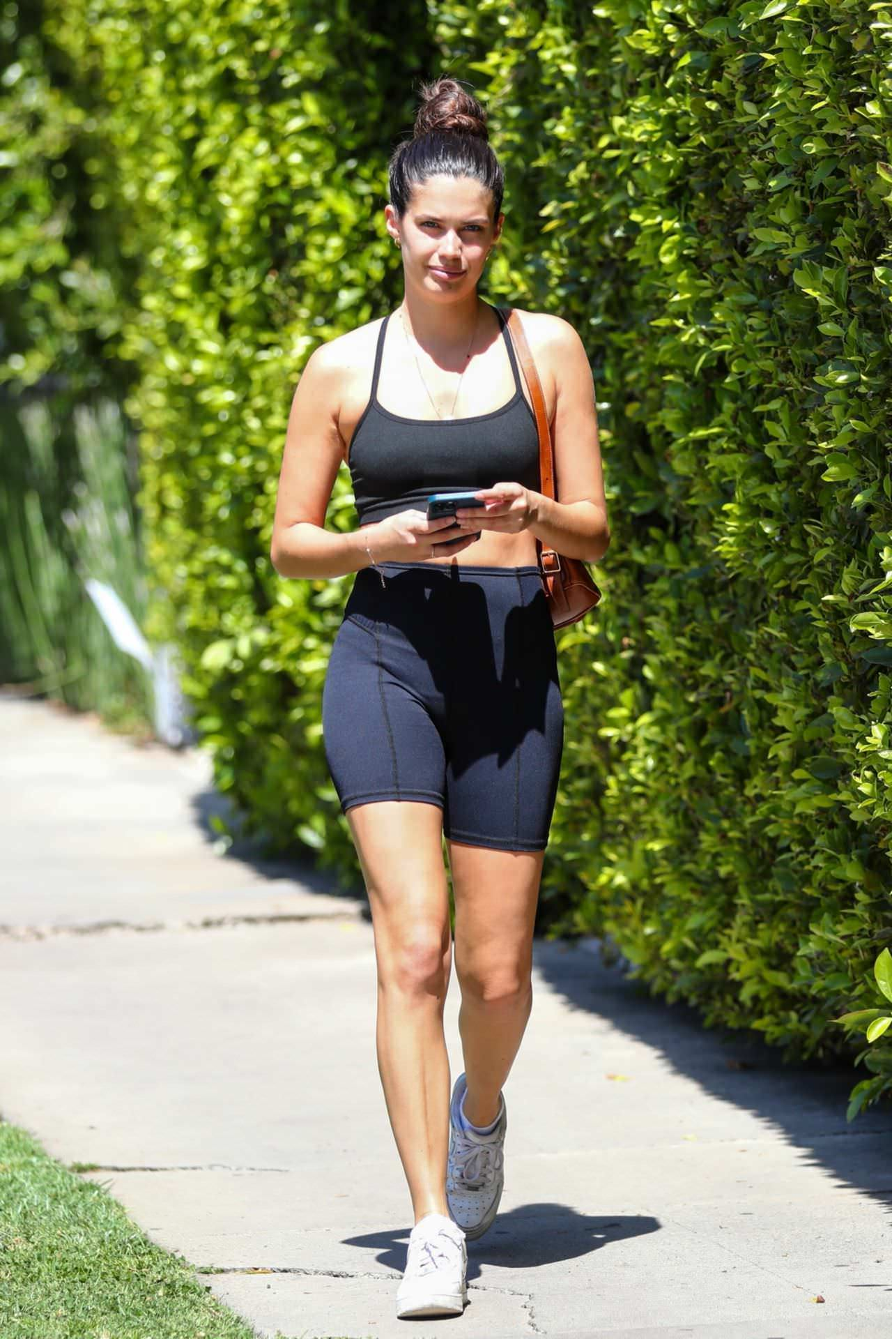 Sara Sampaio in Bicycle Shorts and Sports Bra in West Hollywood