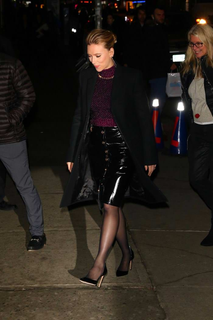Scarlett Johansson Outside The Late Show With Stephen Colbert in NY