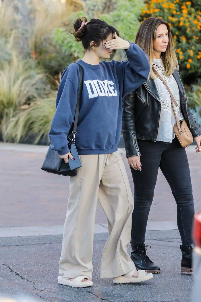 Selena Gomez in Blue Sweatshirt Out With Friend in Studio City