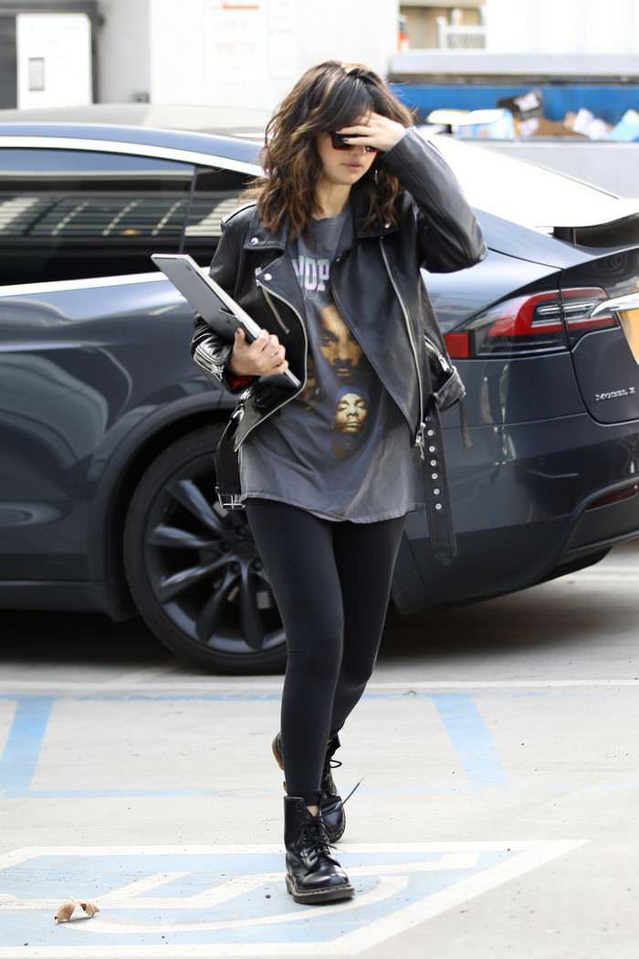 Selena Gomez in Dr. Martens 1460 Boots Outside Nine Zero One Salon in West Hollywood