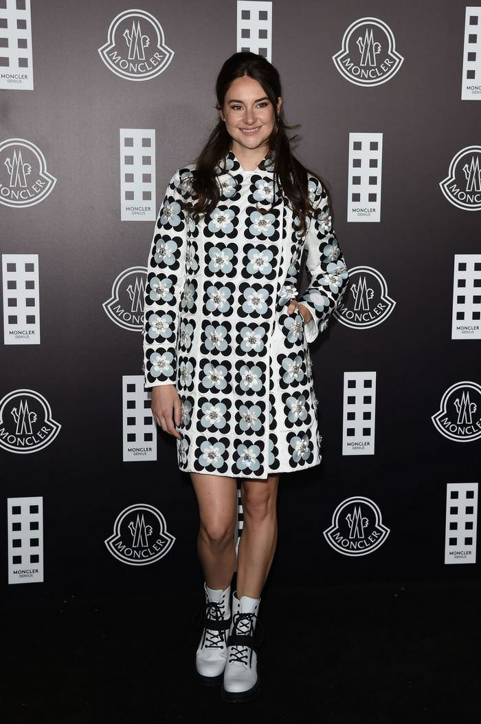 Shailene Woodley in Retro Floral Dress at Moncler Fashion Show in Milan