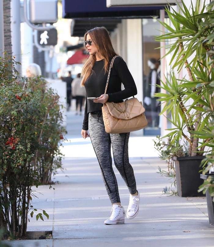 Sofia Vergara in Dark Gray Leggings Leaving Gym in Beverly Hills