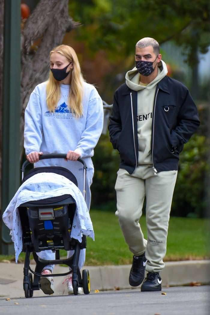 Sophie Turner Enjoys a Stroll with Joe Jonas and Their Newborn Daughter Willa