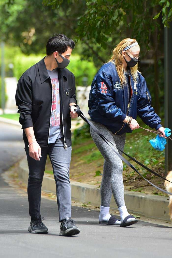 Sophie Turner Wears a Sleek Black Mask While Walking Dogs