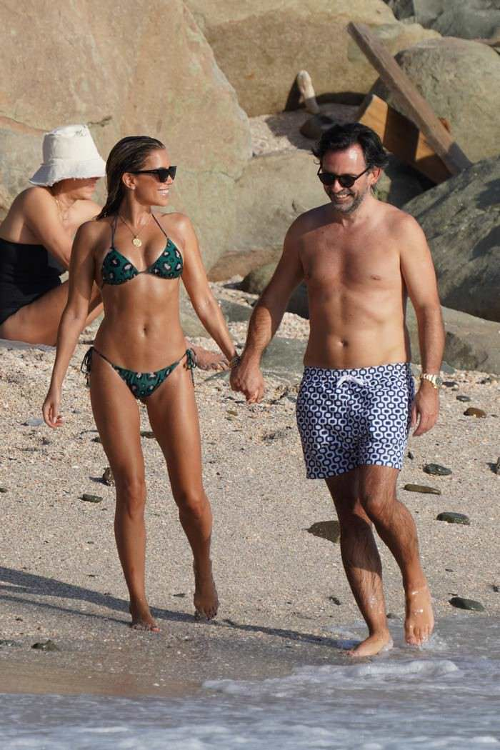 Sylvie Meis in a Bikini on the Beach in Saint-Barthelemy