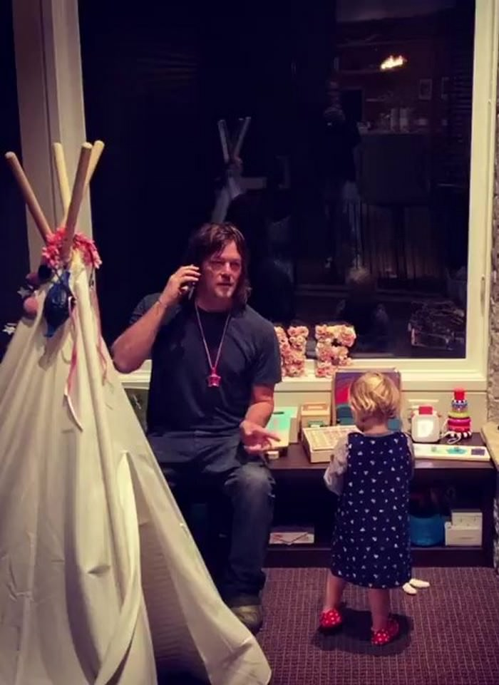 The Walking Dead' Actor Norman Reedus Sings the ABC Song With his Daughter