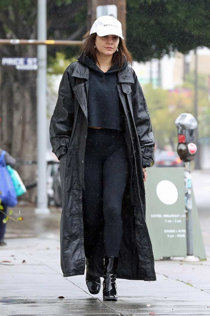 Vanessa Hudgens Out in the Los Feliz in Leather Trench Coat