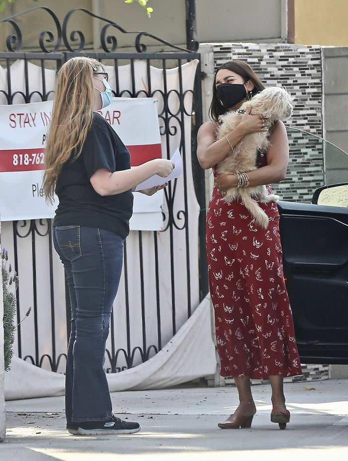 Vanessa Hudgens Rocks Midi Dress as she Takes her Dog to the Vet