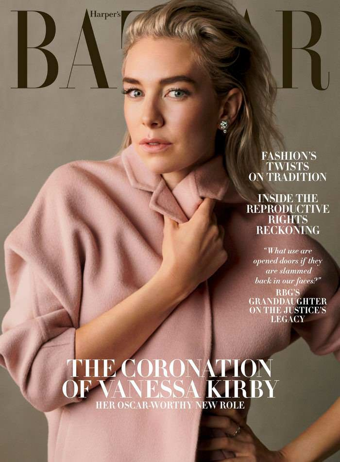 Vanessa Kirby on the Cover of Harper's Bazaar Magazine December 2020