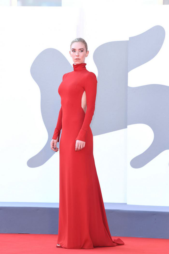 Vanessa Kirby Wows All in a Red Backless Gown at 77th Venice Film Festival