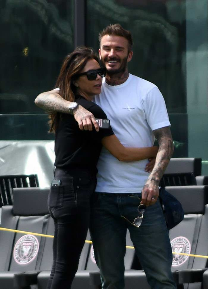 Victoria Beckham and David Beckham Share a Kiss on a Family Day in Miami