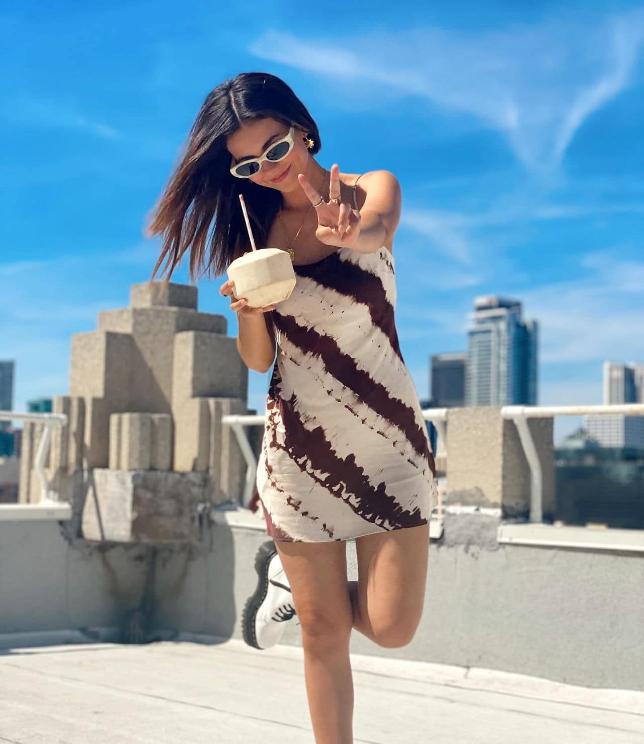 Victoria Justice Posing in Chic Short Dress on Instagram