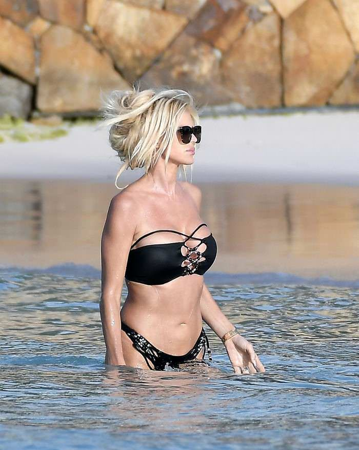 Victoria Silvstedt in a Bikini on the Beach in St. Barths