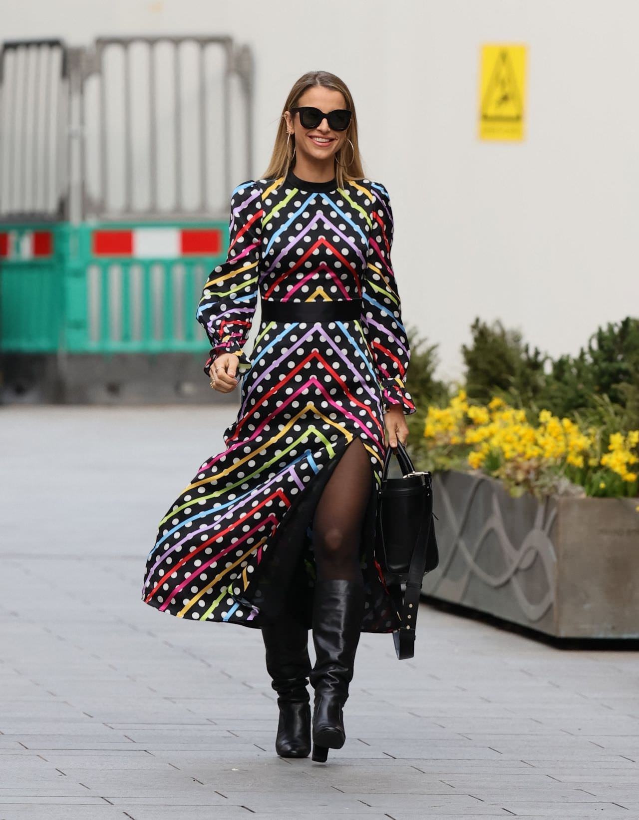 Vogue Williams Goes to Work in a Chic Polka Dot Striped Dress