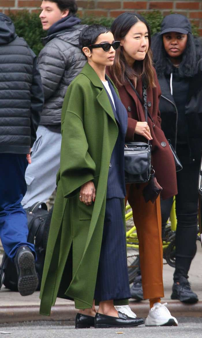 Zoe Kravitz in Green Coat Out in New York City