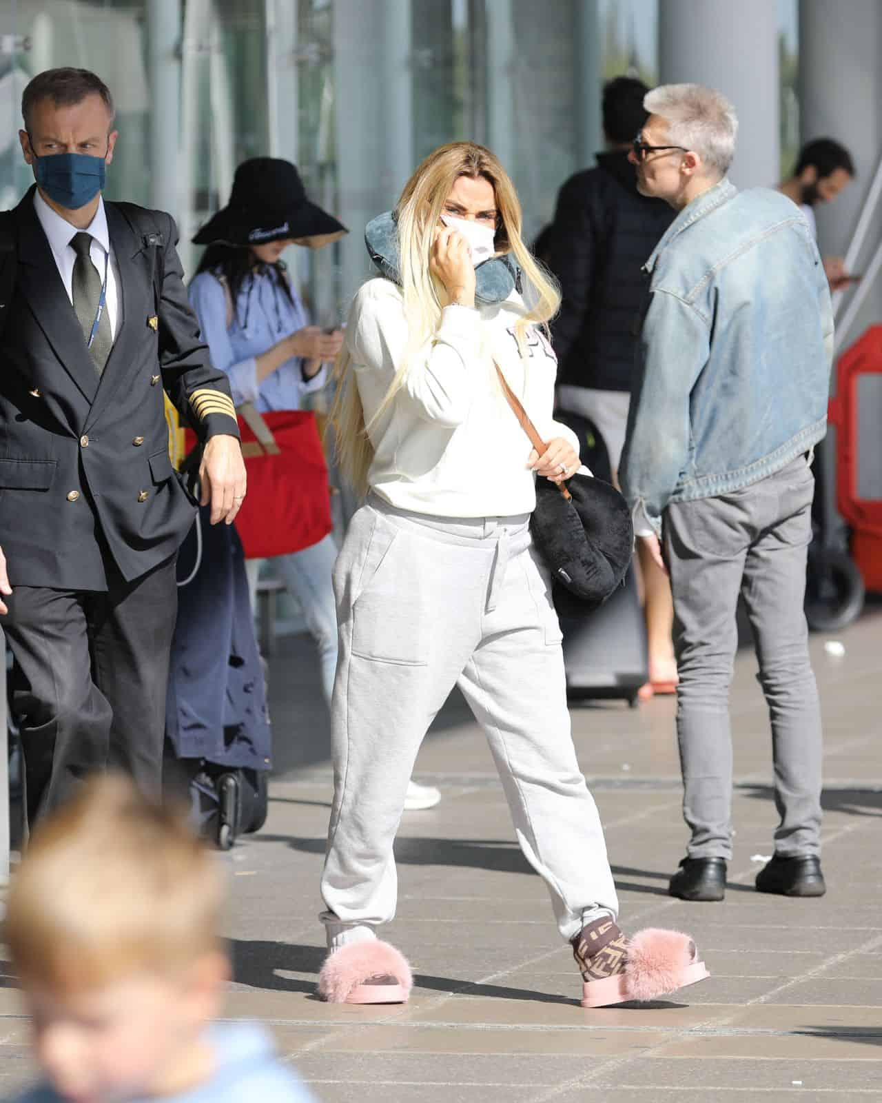 Katie Price at Stanstead Airport in London
